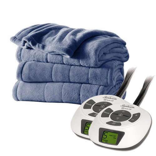 Sunbeam Channeled Velvet Plush Electric Heated Blanket King Size Lagoon (Sunbeam Heated Electric Blanket compare prices)