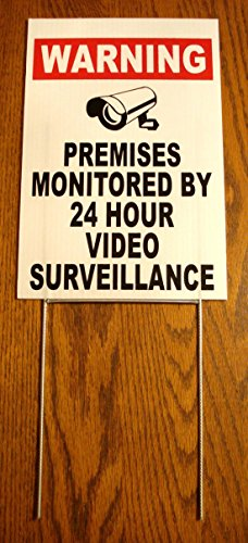 "1Pc Crucial Popular Security Yard Signs Recording Reflective Property Anti-Thief Being Watched Decal Size 8"" x 12"" with Stake"