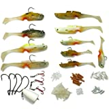 Mighty Bite 5-sense Soft Plastic Fishing Lures/Baits Kits with System Hook Inside and Complete Basic Kit for Freshwater/Saltwater Fishing BQ11