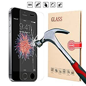 BACAMA® Tempered Glass Screen Protector for iPhone SE, iPhone 5, iPhone 5s, iPhone 5c, Solid and Thinest Premium Quality HD Clear Bubble-Free Film Maximum Protection Impact Resistant