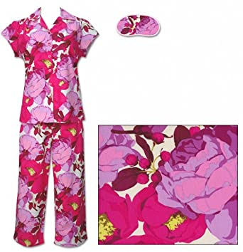 The Cat's Pajamas Peony Floral Women's Cotton Capri Pajama Small