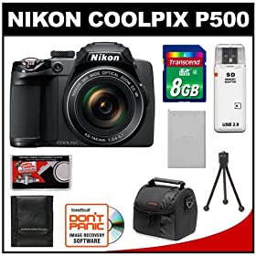 Nikon Coolpix P500 12.1 MP Digital Camera (Black) with 8GB Card + Battery + Case + Accessory Kit