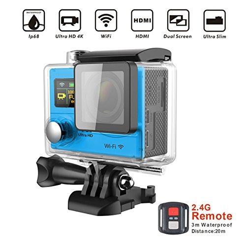 Topjoy TH3R 4K Sport azione WIFI videocamera doppio schermo DV fotocamera subacquea con 2,4 G Blutooth Wirelss Remote Controller