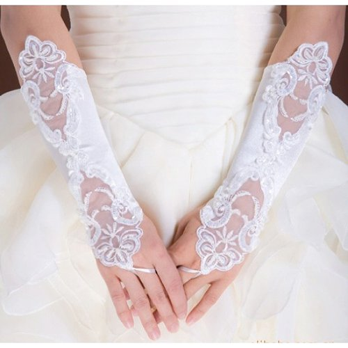 Lady Wedding Gloves - SODIAL(R) Lady Lacing Short Decorated Wedding Party Gloves