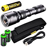 NiteCore MH25 CREE XM-L U2 LED 960 Lumens USB Rechargeable Flashlight, 18650 Rechargeable Li-Ion Battery, USB Charging Cable and Holster, Black