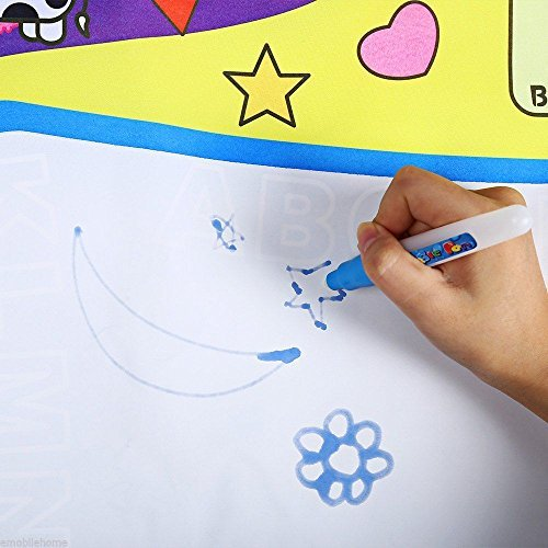 [Children Aqua Doodle Drawing Toys 1 Painting Mat + 2 Water Drawing Pen Blue] (Animals That Start With The Letter A)