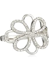 Sterling Silver Floral Lace Design Ring (1/10cttw, I-J Color, I2-I3 Clarity), Size 7