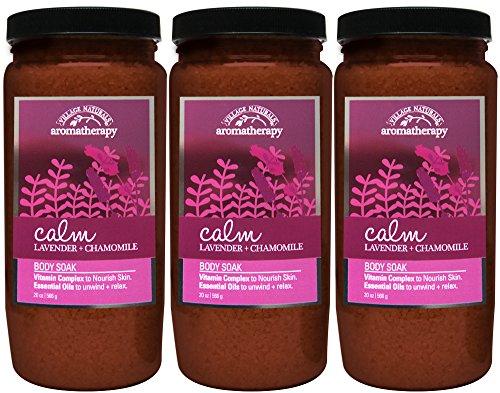 Village Naturals Aromatherapy Calm Lavender and Chamomile Body Soak 20 oz. 3-pack
