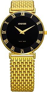 Jowissa Women's J2.040.L Roma 36 mm Gold PVD Black Dial Roman Numeral Steel Watch