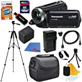 Panasonic HC-V100M 42x Intelligent Zoom SD Camcorder with 16GB Built in Memory (Black) + High Capacity Battery & AC/DC Charger + 9pc Bundle 32GB Deluxe Accessory Kit