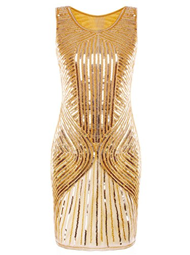 Vijiv Women's 1920s Sequined Inspired Beaded The Gatsby Flapper Dress Gold XL
