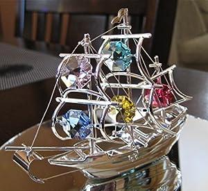Sailing Ship Silver Plated Swarovski Crystal Ornament