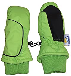 N\'Ice Caps Kids Easy On Thinsulate Waterproof Velcro Wrap Mitten (3-4 Years, Neon Green)