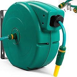 Automatischer Gartenschlauch Aufroller Schlauchtrommel 20m + Universalkupplung + Spritze