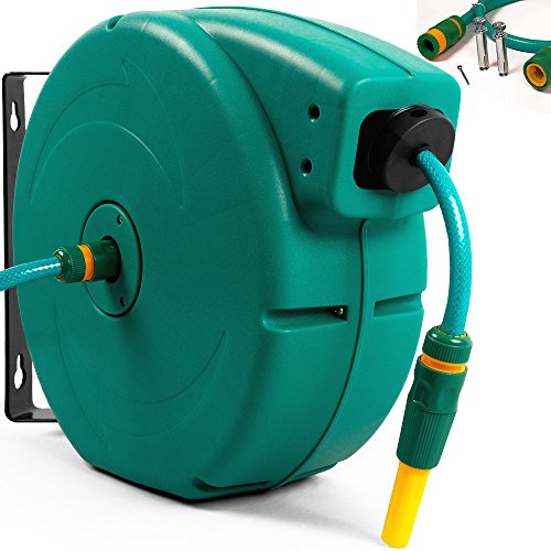 Automatischer-Gartenschlauch-Aufroller-Schlauchtrommel-20m-Universalkupplung-Spritze