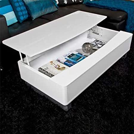 Design Couch / Coffee Table BOX, High Gloss White 120 CM-With Storage Space