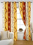 "Story@Home Eyelet Fancy Polyester 2 Pc COMBO Ringtop Eyelet Designer Door Curtains,  7 ft  46 "" X 84 "" Orange"