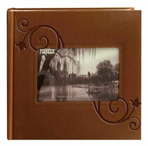 Pioneer Embossed Floral Frame Leatherette Cover Photo Album, Brown (4″x6″)