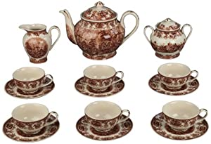 Set of 15 Brown and White Porcelain Tea Set