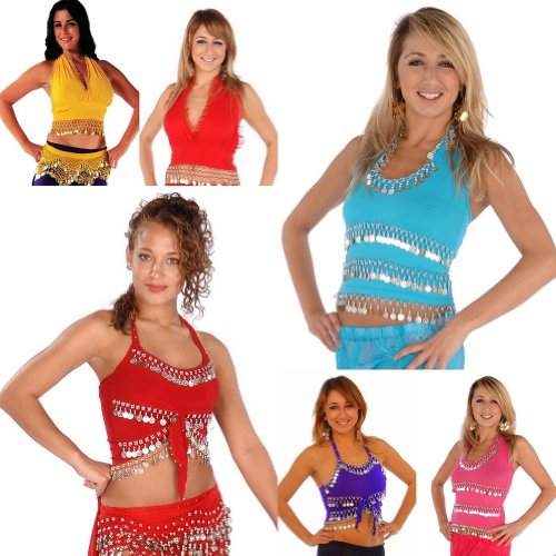 Wholesale Lots of 6 Mixed Belly Dance Stretchy Cotton TOPS