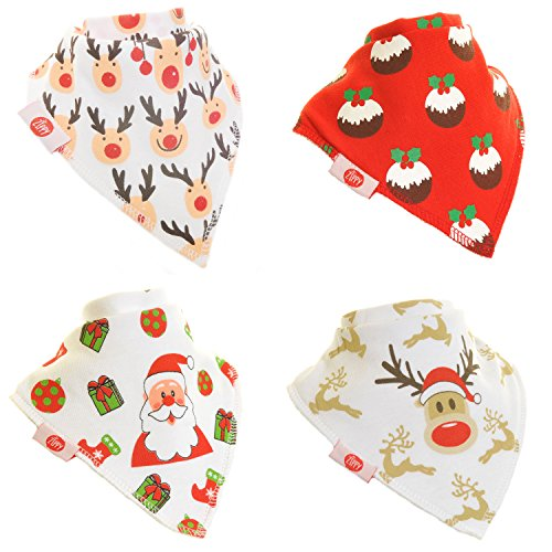 Zippy Fun Christmas Baby and Toddler Bandana Bib - Absorbent 100% Cotton Front Drool Bibs with Adjustable Snaps (4 Pack Gift Set) Unisex Red and White Christmas - 1