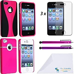 8 Items Deluxe Hot Pink / Pink Accessory Bundle Case / Cover / Skin Kit for Apple iPhone 4 4S AT&T / Verizon - With The Friendly Swede Microfiber Cleaning Cloth