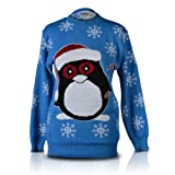 SHUKAN FASHIONS - NEW WOMEN LADIES CHRISTMAS NOVELTY SNOWBALL PENGUIN STICK LUREX PALE BLUE KNITTED JUMPER
