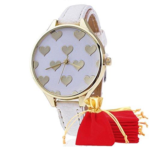 NdB 1310 - [CUORE BIANCO] Orologio Donna da Polso - Con cinturino regolabile a 6 fori - Quarzo - In Sacchetto vellutato Rosso e Oro - Regalo perfetto