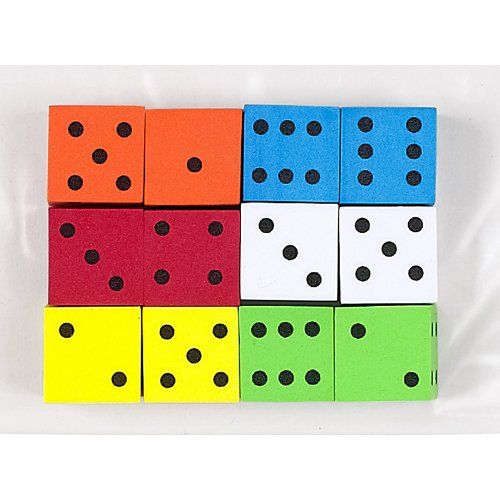 Koplow Games Inc. KOP17332 16Mm Foam Dice 12Pk Assorted Color Spot