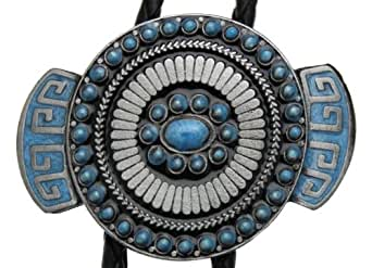 Oval Western Design Turquoise Bolo Tie in one of my Presentation Boxes. (T)