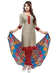 SareeShop Women's Georgette Semi-Stitched Dress Material (B2B3006_Red_Free Size)