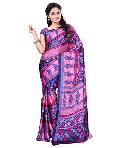 Surat Tex Pink & Blue Crepe Printed Sarees With Blouse Piece
