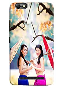Omnam Two Japenese Girl With Umbrella Printed Designer Back Cover Case For Lenovo Vibe C (A2020)
