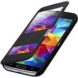 Flip Cover Tasche Samsung Galaxy S5 G900 / S5 Neo Schutz Hülle Case Schwarz S- + mit Sichtfenster + annehmen der anrufe ohne öffne des Covers + Folie