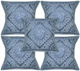 Home Furnishing Decorative Heavy Cushion Covers Handmade Embroidered Mirror Work Indian Cotton Gray Throw Pillow Cushion Covers 16 x 16 Inches Set Of 5 Pcs
