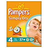 Pampers Simply Dry Nappies Size 4 Essential Pack 37 per pack case of 1