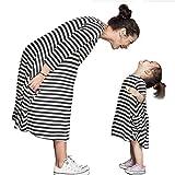(ウイ カプア) u'i Kapua ママとおそろいも! シンプル ボーダー 変形 A ライン ワンピース 子供服 女の子 ママ サイズ お揃い ( ママサイズ , ボーダー )