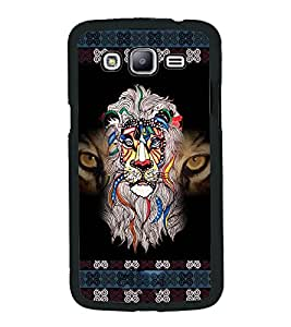 PrintVisa Metal Printed Crazy Lion Designer Back Case Cover for Samsung Galaxy J5-D4688
