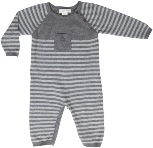 Angel Dear Baby Boys' Essential Stripe L/S Coverall -Grey Heather - 6-9 Months front-1067611
