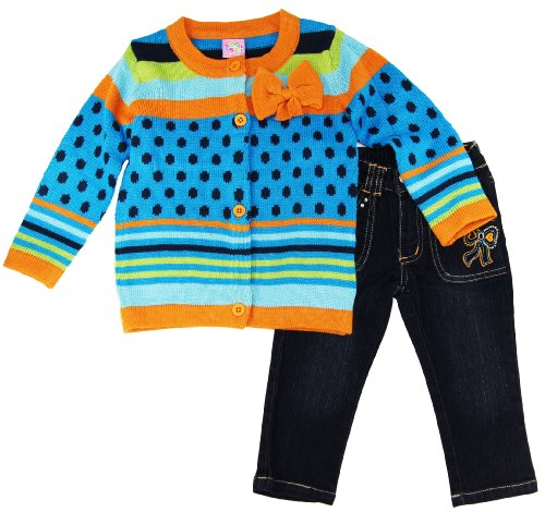 Sweet & Soft Infant Baby-girls Multicolor Bow Cardigan With Jeans 6-24m Picture