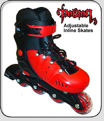 Poizon Adjustable Inline Skates Size UK 2 to 4 in Red