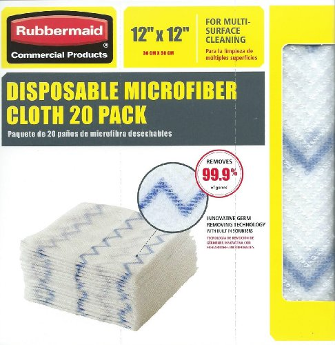 "Rubbermaid Disposable Microfiber Cloth 12"" X 12"" 20 Per Pack (1 Pack)"