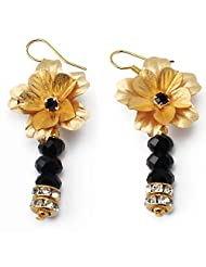 Aarya 24kt Gold Foil Hanging Crystal Earring For Women