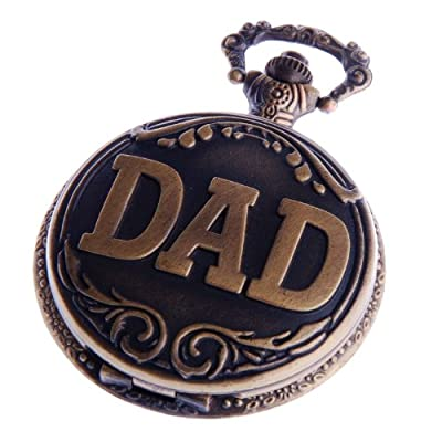 Creddeal Pocket Watch Pendant Vintage DAD Pattern Mens Ladies Quartz Pocket Watches