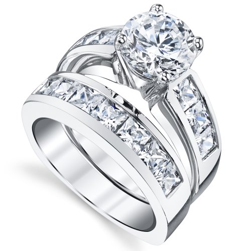 Sterling Silver Bridal Set Engagement Wedding Ring Bands with Round and Princess Cut Cubic Zirconia 9