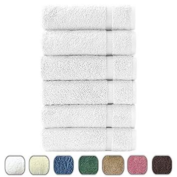 "Turkish Luxury Hotel & Spa 16""x30"" Hand Towel Set of 6 - 100% Genuine Cotton from Turkey - 700gsm Organic Eco-Friendly (Hand Towels, White)"