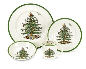 #!Cheap Spode Christmas Tree 4-Piece Dinnerware Place Setting, Service for 1