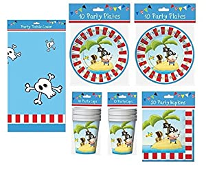 Arpan Pirate Party Tableware Pack for 20 People, Cups Plates, Napkins & Tablecover
