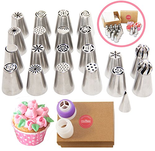 CrownBake DELUXE Russian Piping Tips 33 Pcs (2 XLarge Sphere Ball Nozzles, New SNOWFLAKE Tip , 2 Large Couplers, 10 Free Disposable Pastry bags + Frosting Recipes) For Cake Cupcake Decorating