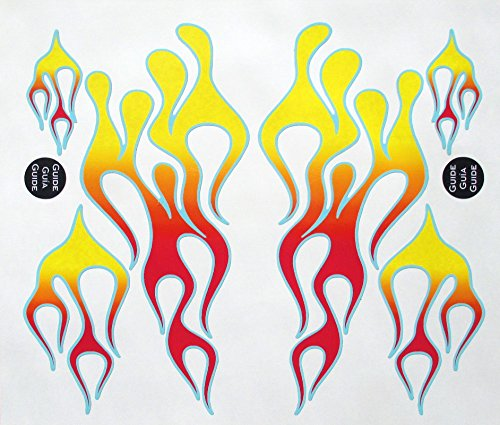 Classic Mix Flame Decal Kit red, orange, and yellow with blue trim, designed to fit all KitchenAid stand mixers, including Classic, Artisan, and Professional 600, without accessory interference. (Mixer Flames compare prices)